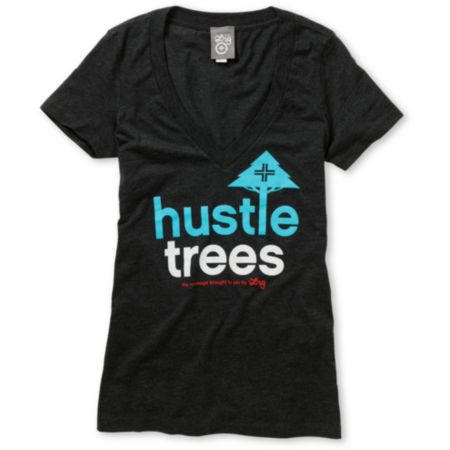 LRG Girls Hustle Trees Charcoal Grey V-Neck Tee Shirt
