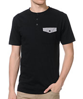 Dravus Slayer Black Knit Henley Shirt