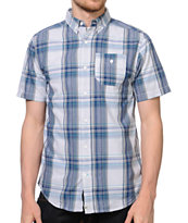Dravus Tank Grey & Blue Plaid Short Sleeve Button Up Shirt