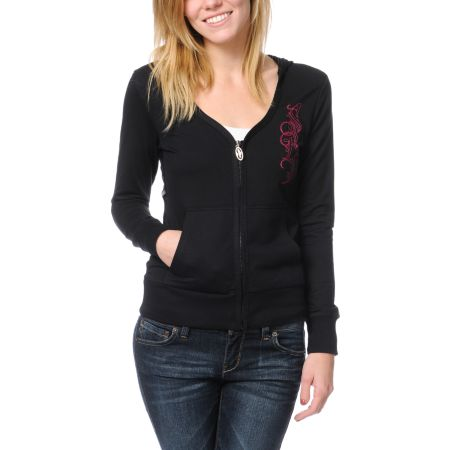 SRH Girls Knightly Black Zip Up Hoodie