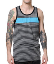 Zine Blue Steel Teal & Black Stripe Tank Top