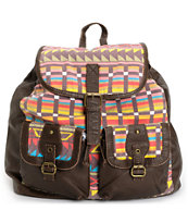 T-Shirt & Jeans Tribal Print Brown Backpack
