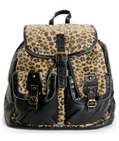 T-Shirt & Jeans Leopard Print Black Backpack
