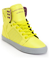 Supra Womens Skytop Neon Yellow Nylon Shoe