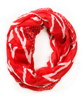 D&Y Chevron Stripe Red Infinity Scarf