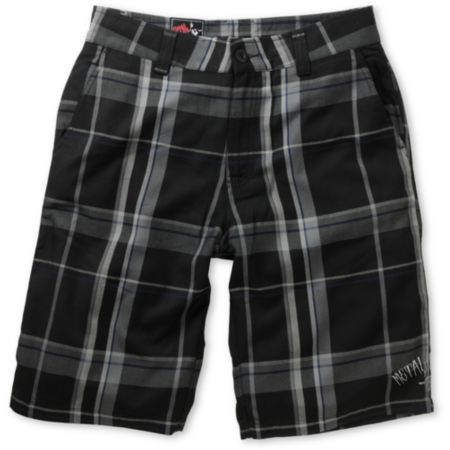 Metal Mulisha Calibrated Black Plaid Shorts