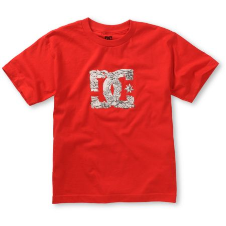 DC Boys Shattered Red Tee Shirt