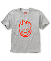 Spitfire Boys Bighead Grey & Red Tee Shirt