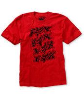Fox Boys Spun Out Red Tee Shirt