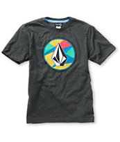 Volcom Boys Stained Stone Heather Charcoal Tee Shirt