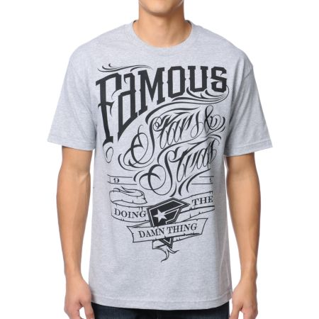 Famous Stars & Straps True Grit Heather Grey Tee Shirt