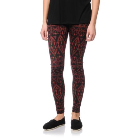 Empyre Girls Ethnic Brick Red Print Leggings