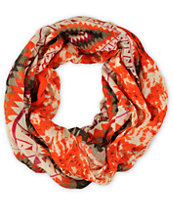 D&Y Tribal Print Orange Infinity Scarf