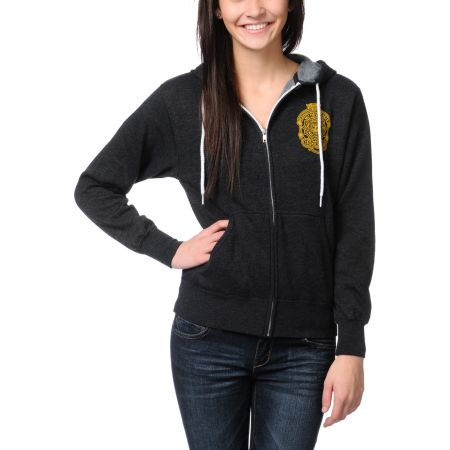 Obey Girls Savage Beast Charcoal Grey Zip Up Hoodie