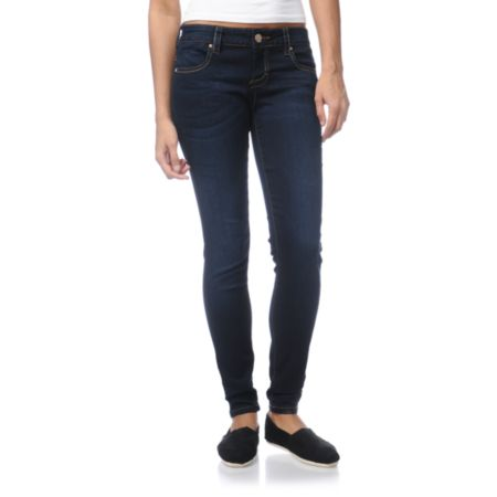 STS Blue Girl Pieced Pocket Dark Wash Skinny Jeans