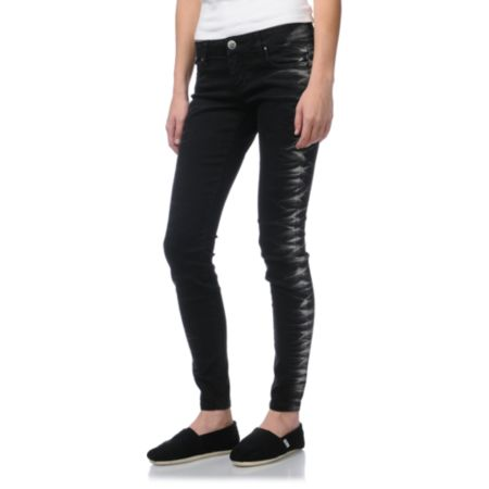 STS Blue Side Tie Leg Girls Black Skinny Jeans