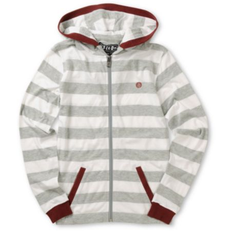 Volcom Boys Othercircle White Striped Zip Up Hoodie