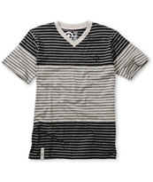LRG Boys Multi Color Black & Charcoal Striped V-Neck Tee Shirt
