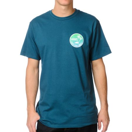 Vans Off The Wall Palm Atlantic Deep Blue Tee Shirt