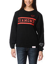 Diamond Supply Girls Collegiate Black Crew Neck Sweatshirt