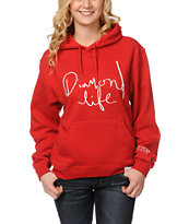 Diamond Supply Girls Diamond Life Script Red Pullover Hoodie