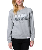 Diamond Supply Girls NY Diamond Life Grey Crew Neck Sweatshirt