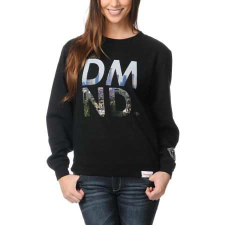 Diamond Supply Girls LA DMND Black Crew Neck Sweatshirt