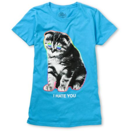 A-Lab Girls I Hate You Kitty Blue Tee Shirt