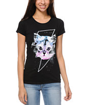 A-lab Girls Thunder Cat Black Tee Shirt