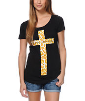 Empyre Girls Spotted Cross Black Scoop Neck Tee Shirt