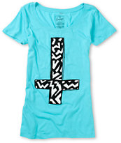 Empyre Girls Zig Zag Cross Turquoise Scoop Neck Tee Shirt
