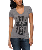 Empyre Girls Native Cross Heather Charcoal V-Neck Tee Shirt
