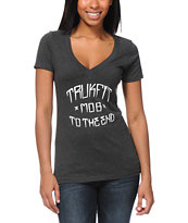 Trukfit Girls MOB Charocal Grey V-Neck Tee Shirt