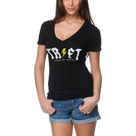 Trukfit Girls Stoner Black V-Neck Tee Shirt