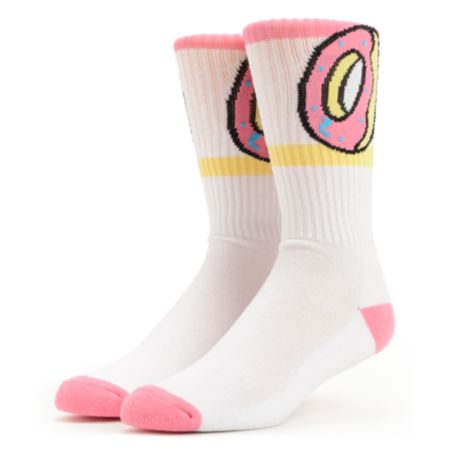 Odd Future Donut White & Pink Crew Socks