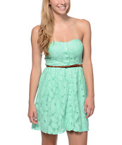 Love, Fire Button Up Mint Lace Strapless Dress