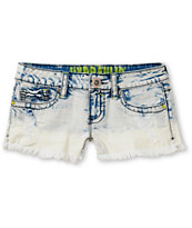 Hydraulic Brett Indigo White Dye Cut Off Shorts
