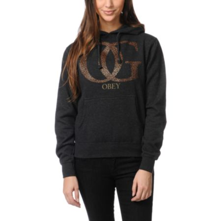 Obey Girls OG Leopard Charcoal Grey Pullover Hoodie