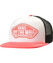 Vans Girls Neon Coral Trucker Hat