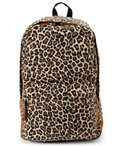 Carrot Company Leopard Print Beige Canvas Backpack