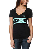 Diamond Supply Girls Collegiate Black V-Neck Tee Shirt