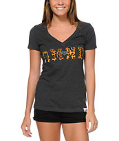 Diamond Supply Girls DMND Leopard Charcoal V-Neck Tee Shirt