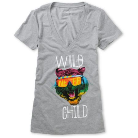 Neff Wild Child Girls Charcoal V-Neck Tee Shirt