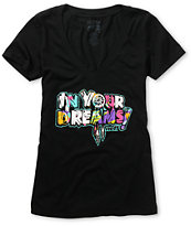 Neff In Your Dreams Girls Black V-Neck Tee Shirt