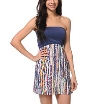 STS Blue Rainbow Scribble Strapless Dress