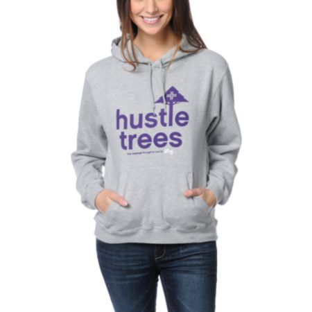 LRG Girls Hustle Trees Heather Grey & Purple Pullover Hoodie