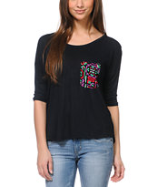 Empyre Girls Rockridge Black Tribal Print Pocket Top