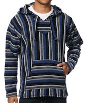 Senor Lopez Graphite, Blue & White Poncho