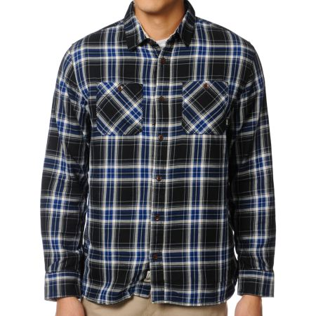 Vans Birch Black & Blue Plaid Flannel Shirt