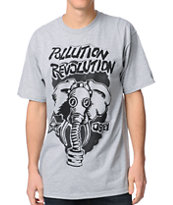 Obey Pollution Revolution Heather Grey Tee Shirt